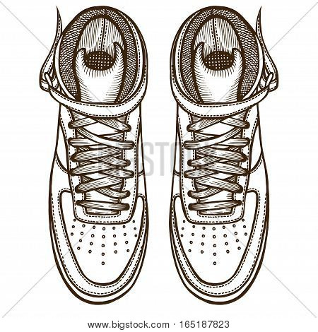 Hand Drawn Doodles vector Sketch. Two boots