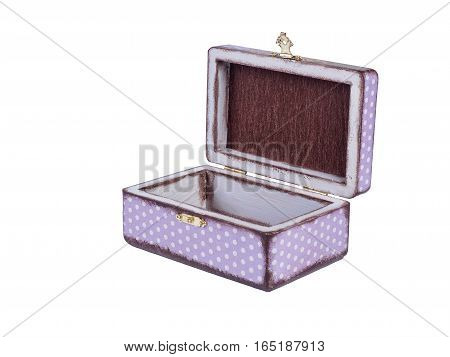 Picture of the opened purple-coloured box for bijouterie isolated on white background. Handmade decoupage jewel box. Side view.