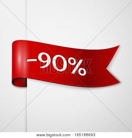 Red ribbon with inscription 90 percent discounts on grey background. Vector illustration.