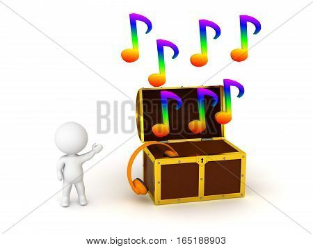 Small 3D character and a treasure chest with colorful musical notes. Isolated on white background.
