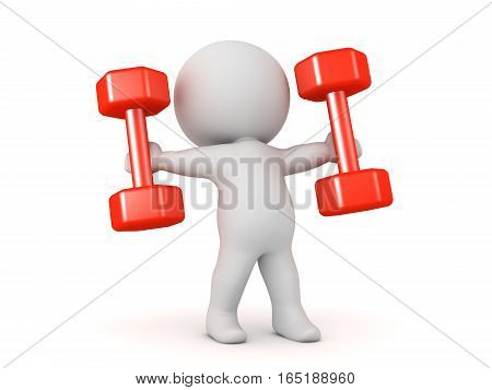 3D character holding two large dumbell weights. Isolated on white background.