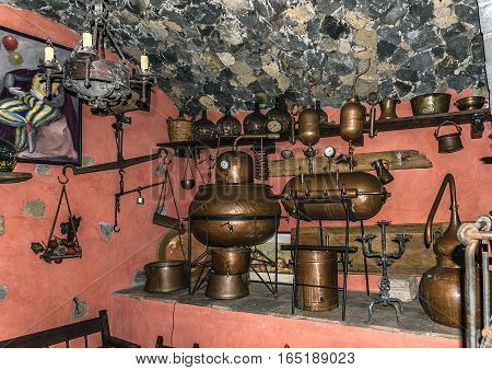 Canary Islands , Tenerife. Restaurant El Monasterio is located in the town of Los Realejos , in the north of the island , near Puerto de la Cruz . The old moonshine  mashine.