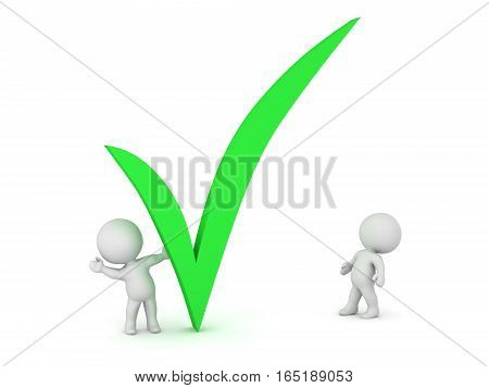Small 3D characters and a large green done symbol. Isolated on white background.