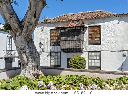 Canary Islands Tenerife . The town of Icod de las Vinos residential house with