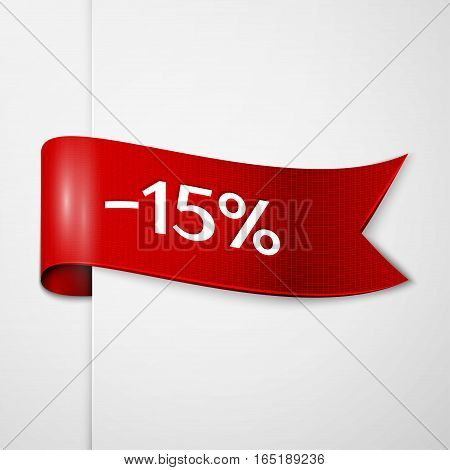 Red ribbon with inscription 15 percent discounts on grey background. Vector illustration.