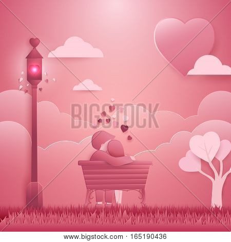 Invitation card Valentines day background. Couple sitting at the Romantic place concept falling in love. paper cut art origami style