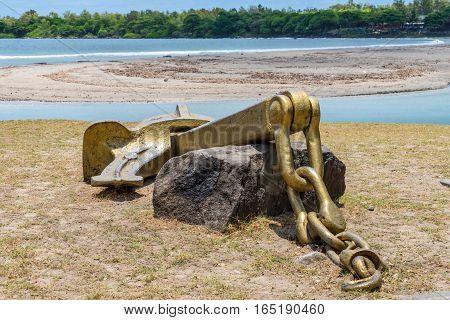 Old ship anchor as a monument on the Tamarin Bay Beach Tamarin Black River District Mauritius