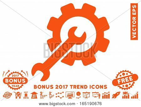 Orange Setup Tools pictogram with bonus 2017 year trend symbols. Vector illustration style is flat iconic symbols white background.