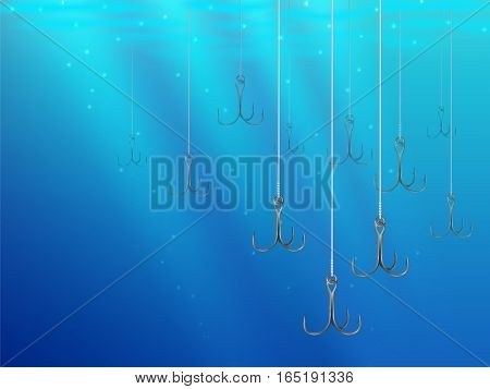 Fishing Lures Background Underwater Hooks Texture 2