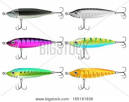 Fishing lures set. Realistic hooks collection for catching salmon catfish tuna pike perch marlin bass trout or tarpon. Wobblers vector for web and printed products.