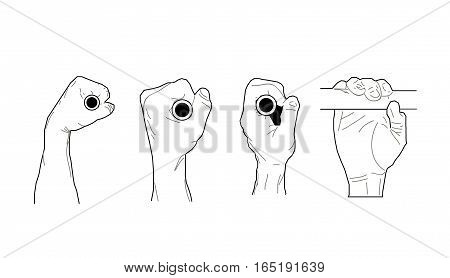 Four combination of hand positions imitate horizontal or cross bar holding a shell in isolation. monocrome vector illustration.
