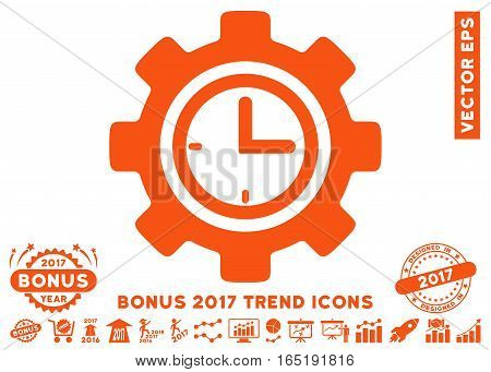 Orange Time Setup Gear pictograph with bonus 2017 year trend pictograms. Vector illustration style is flat iconic symbols white background.