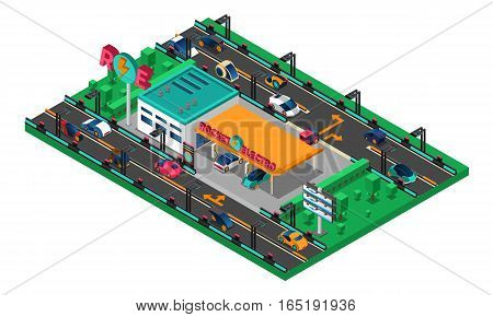 Futuristic isometric concept with cars of new generation charging station billboards trees vector illustration