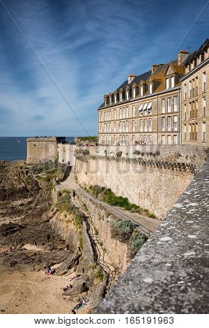 View on fortification walls of Saint-Malo city in september, Bretagne France
