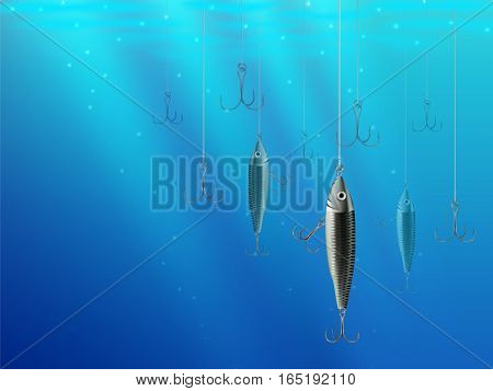 Fishing Lures Background Hooks Underwater Texture 2