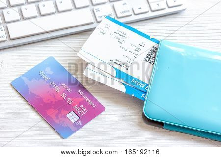 credit card on keyboard - buy tickets online close up