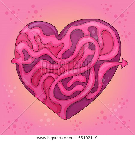 Labyrinth in the form of heart. Puzzle - Maze vector