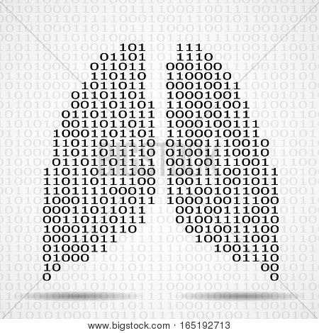 Abstract human lungs with binary computer code