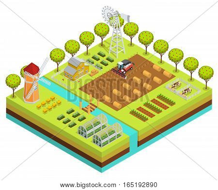 Colored farm isometric with farm project in planting process digging the earth vector illustration