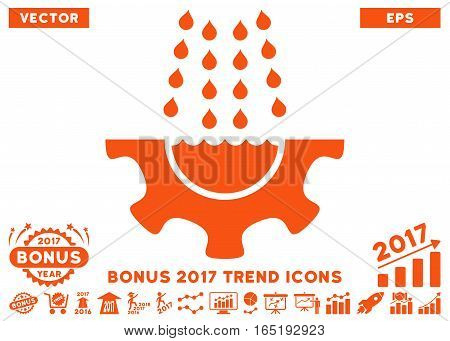 Orange Water Shower Service Gear pictogram with bonus 2017 trend pictograph collection. Vector illustration style is flat iconic symbols white background.