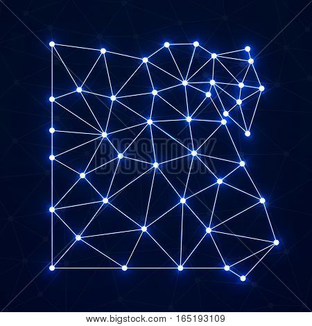 Abstract polygonal map Egypt with glowing dots and lines, network connections