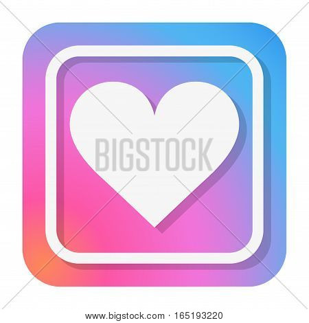 Heart Icon in trendy color. Flat design with shadow. Love symbol. and Valentine Day sign. Vector Illustration isolated on white background.