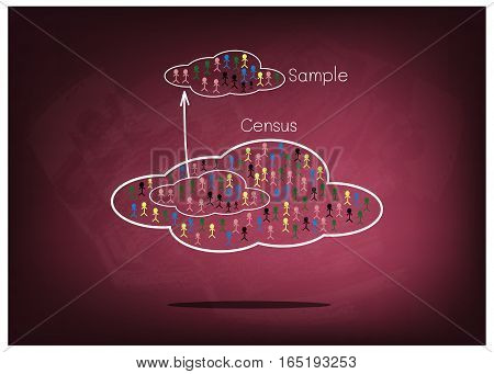 Business and Marketing or Social Research The Process of Selecting Sample of Elements From Target Population to Conduct A Survey on Chalkboard..