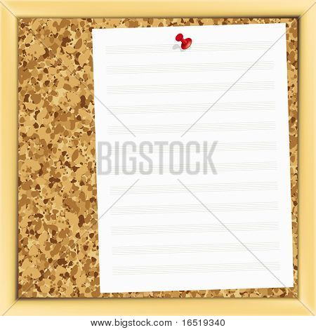 closeup of music note paper on cork board. poster