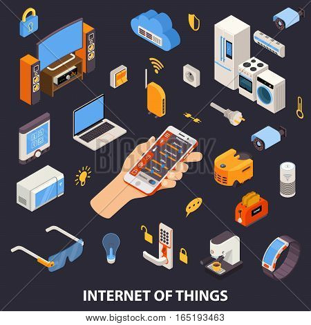 Internet of things home automation system with remote control device in owners hand isometric poster vector illustration