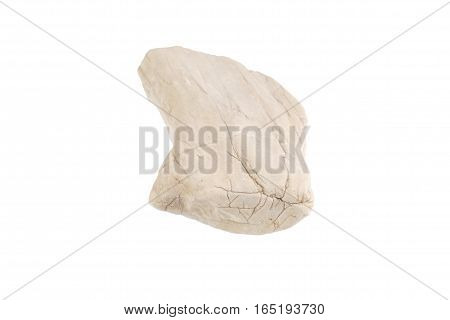 White granite rock isolated on white background with work paths and clipping paths Included.