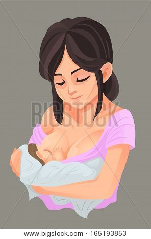 Mother breastfeeding her baby, Vector illustration info-graphic.