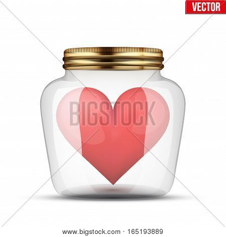Red heart inside glass jar. Wedding and Valentines Day Design. Vector Illustration isolated on white background.