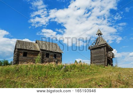 Old abandoned Russian village. An abandoned wooden structure. The remains of the scenery constructed for a film about ancient Russia