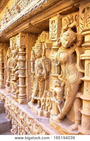 PATAN, GUJARAT, INDIA: Rani ki Vav stepwell with ornate carvings on walls