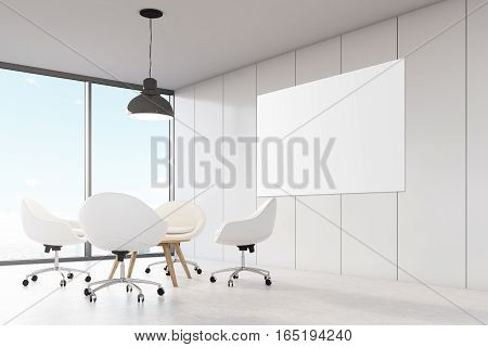Room with white walls large panoramic window a black ceiling lamp hanging above a coffee table surrounded by white office chairs. Big horizontal poster on a wall. 3d rendering. Mock up