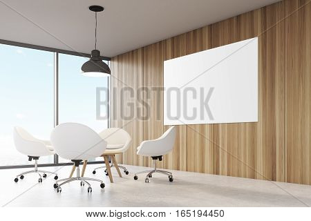 Room with wooden walls large panoramic window a black ceiling lamp hanging above a coffee table surrounded by white office chairs. Big horizontal poster on a wall. 3d rendering. Mock up