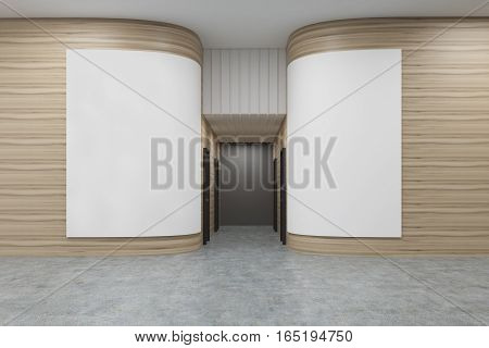 Office hall with rounded wooden walls. There are two white posters on them. Rows of doors are leading to an elevator. 3d rendering. Mock up