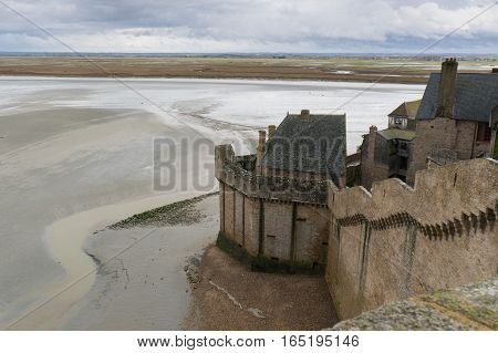 One of the many inner walls of Le-Mont-Saint-Michel in France