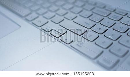 Keyboard of laptop closeup. Technology business or education concept