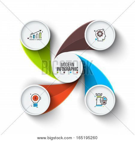 Business data visualization. Abstract elements of cycle diagram with 4 steps, options, parts or processes. Vector business template for presentation. Creative concept for infographic. Process chart.