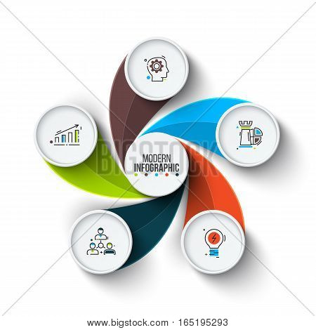Business data visualization. Abstract elements of cycle diagram with 5 steps, options, parts or processes. Vector business template for presentation. Creative concept for infographic. Process chart.