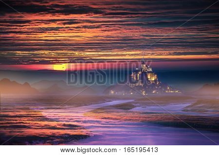 Fantasy landscape with Castle and Mountain at sunsaet