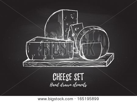 Hand Drawn Vector Illustration. Cheese Set (mozzarella, Blue Cheese, Gouda, Parmesan, Maasdam). Desi