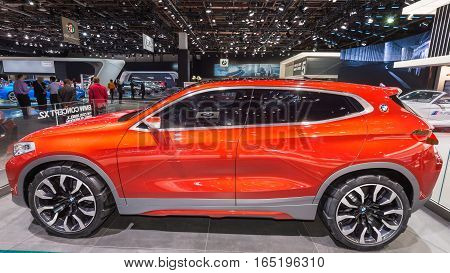 DETROIT MI/USA - JANUARY 10 2017: A BMW X2 Concept Sports Activity Vehicle (SAV SUV) at the North American International Auto Show (NAIAS).