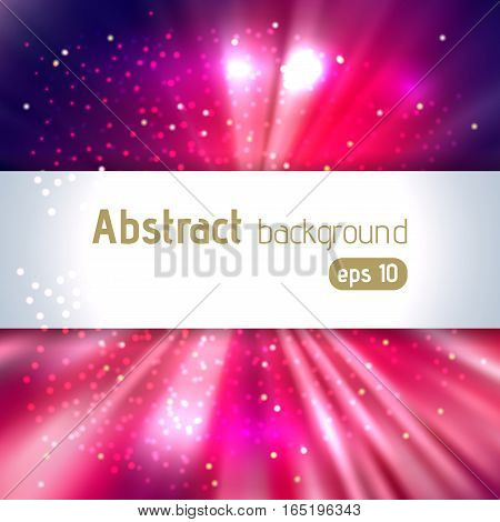 Abstract Artistic Background With Place For Text. Color Rays Of Light. Original Sparkle Design. Pink