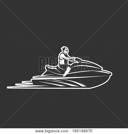 man on Jet Ski isolated on black background vector