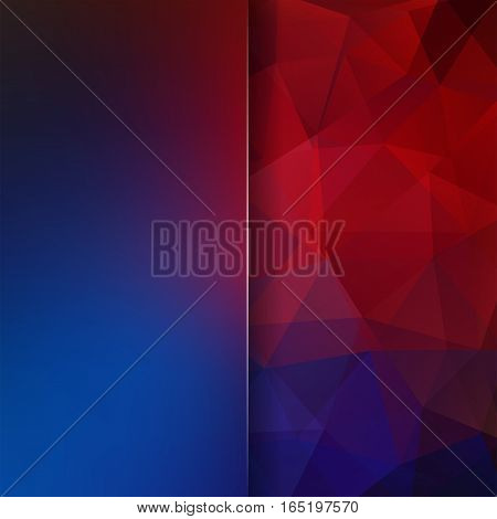 Abstract Geometric Style Dark Background. Blur Background With Glass. Vector Illustration. Blue, Red