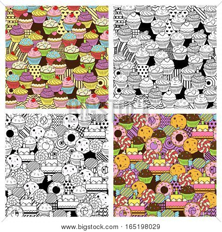 Seamless cute delicious cupcake and sweets doodle patterns. Vibrant and black and wnite versions. It includes sweet deserts with icing, cherry, strawberry, cream, chocolate, sprinkles, etc