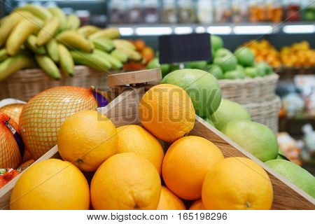 Orange Box On Sale In Fruit Shop