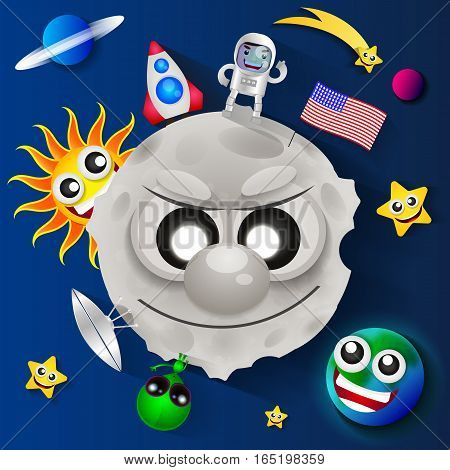 Cosmonautics day USA greeting card  vector illustration